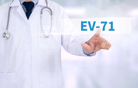 enteric: EV-71 Medicine doctor working with computer interface as medical