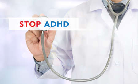 adhd: STOP ADHD Medicine doctor hand working on virtual screen