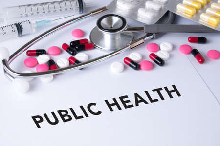 public health: PUBLIC HEALTH CONCEPT    Background of Medicaments Composition, Stethoscope, mix therapy drugs doctor flu antibiotic pharmacy medicine medical