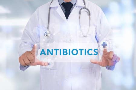 antibiotics: ANTIBIOTICS CONCEPT Medicine doctor hand working