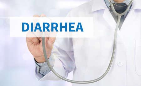 intestinal problems: DIARRHEA Medicine doctor hand working on virtual screen Stock Photo
