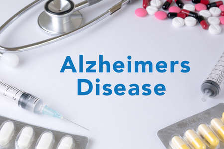 amnesia: Alzheimers Disease concept Text, On Background of Medicaments Composition, Stethoscope, mix therapy drugs doctor flu antibiotic pharmacy medicine medical