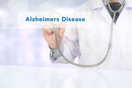 alzheimer's: Alzheimers Disease concept Medicine doctor hand working on virtual screen