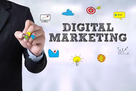 redes de mercadeo: MARKETING DIGITAL dibujo página de destino en el fondo borrosa resumen de negocios