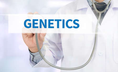 genomes: GENETICS Medicine doctor hand working on virtual screen