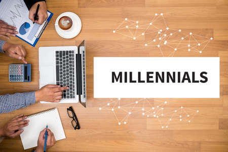MILLENNIALS CONCEPT Business team hands at work with financial reports and a laptop Stok Fotoğraf - 55248046
