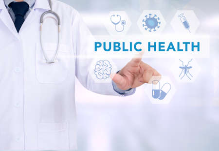 public health: PUBLIC HEALTH CONCEPT  Medicine doctor working with computer interface as medical