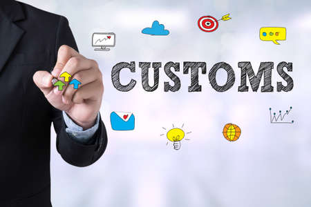 CUSTOMS Businessman drawing Landing Page on blurred abstract background