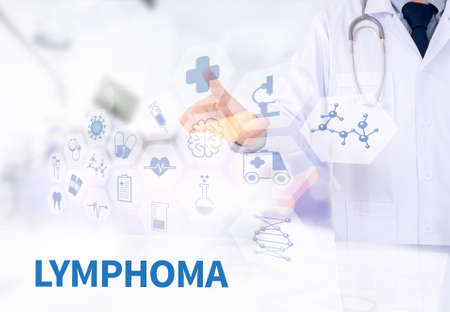 lymphoma: LYMPHOMA Medicine doctor working with computer interface as medical Stock Photo