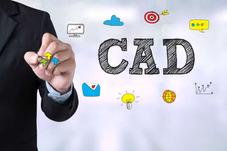 cad drawing: CAD Computer Aided Design Businessman drawing Landing Page on blurred abstract background Stock Photo