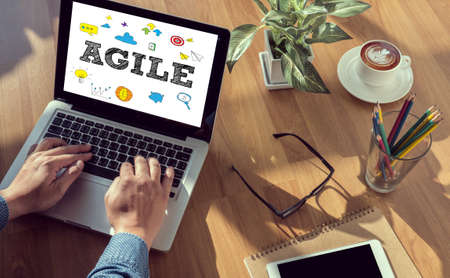agile: AGILE man hand on table Business, coffee, Split tone