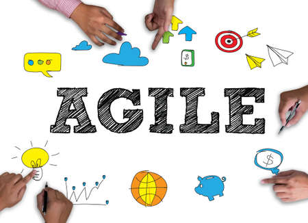 agile: AGILE  frame on white background.