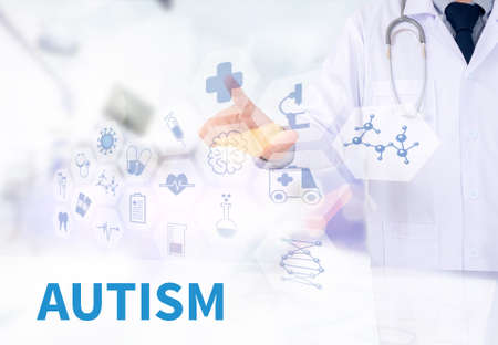 clinical psychology: AUTISM CONCEPT Medicine doctor working with computer interface as medical