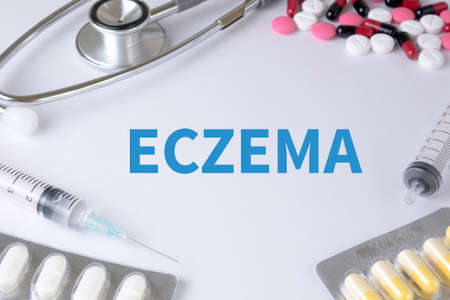atopic: ECZEMA Text, On Background of Medicaments Composition, Stethoscope, mix therapy drugs doctor flu antibiotic pharmacy medicine medical Stock Photo