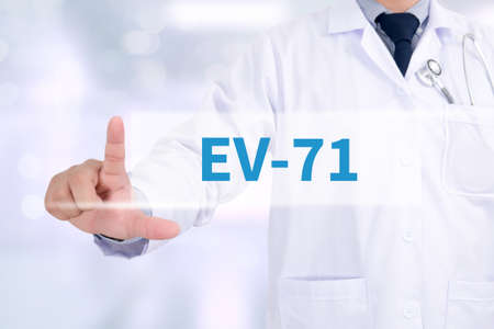 polymorphism: EV-71 Medicine doctor working with computer interface as medical