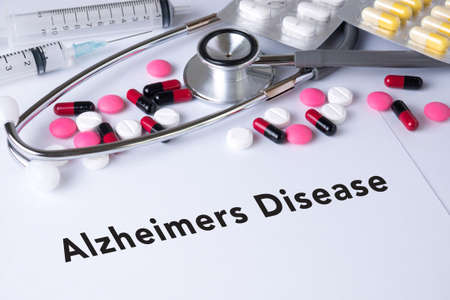 alzheimer's: Alzheimers Disease concept Background of Medicaments Composition, Stethoscope, mix therapy drugs doctor flu antibiotic pharmacy medicine medical