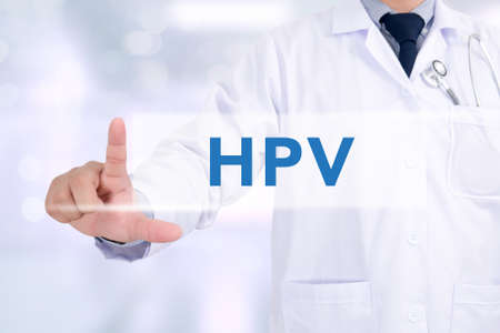 oral cancer: HPV CONCEPT Medicine doctor working with computer interface as medical