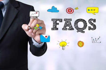 faq: Frequently Asked Questions Faq Feedback  Concept Businessman drawing Landing Page on blurred abstract background