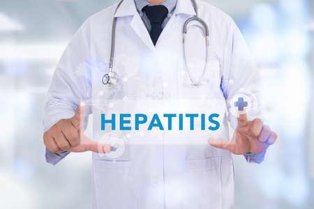 hepatitis: HEPATITIS CONCEPT Medicine doctor hand working Stock Photo