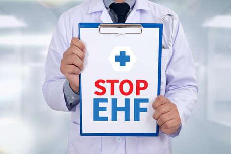 hemorrhagic: Stop EHF (Ebola hemorrhagic fever) Portrait of a doctor writing a prescription
