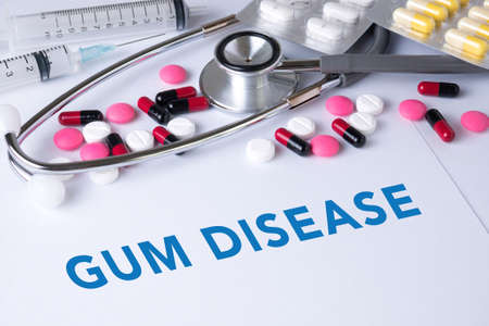 pathologic: GUM DISEASE CONCEPT Background of Medicaments Composition, Stethoscope, mix therapy drugs doctor flu antibiotic pharmacy medicine medical