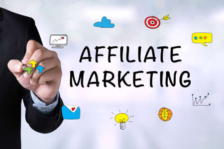 affiliate: AFFILIATE MARKETING and Businessman drawing on board