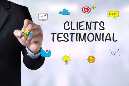 affirmations: CLIENTS TESTIMONIAL and Businessman drawing on board