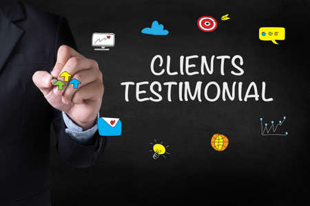 affirmations: CLIENTS TESTIMONIAL Businessman drawing on blurred abstract background