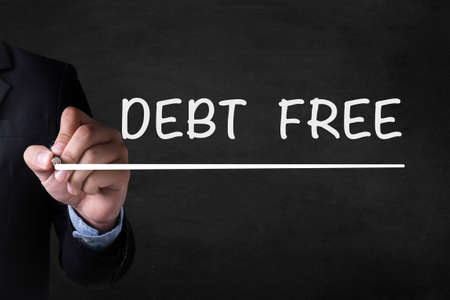 consolidate: DEBT FREE and Businessman drawing on blackboard