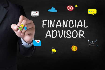 Financieel adviseur Zakenman die op onscherpe achtergrond Stockfoto