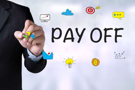 pay off: PAY OFF and Businessman drawing Landing Page on blackboard Stock Photo