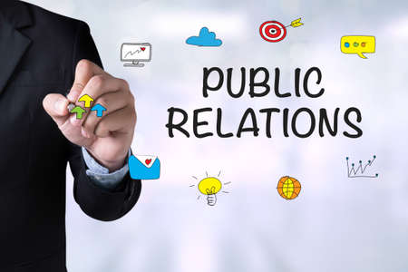 relations: PUBLIC RELATIONS and Businessman drawing on board