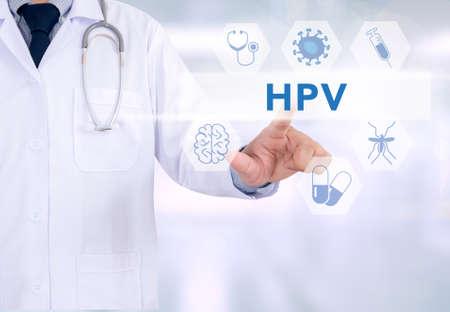医療とコンピューターのインターフェイスを持つ働く HPV 概念医学医師