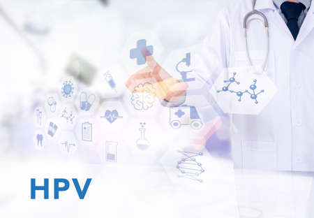 papillomavirus: HPV CONCEPT Medicine doctor working with computer interface as medical