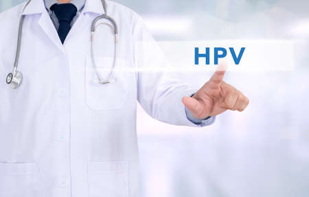 anal: HPV CONCEPT Medicine doctor working with computer interface as medical