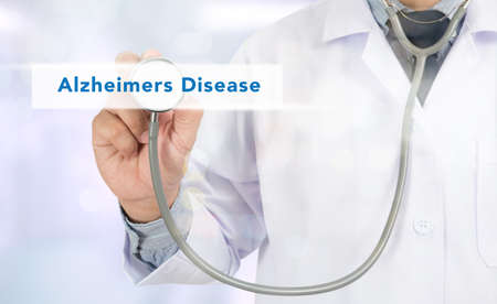 amnesia: Alzheimers Disease concept Medicine doctor hand working on virtual screen