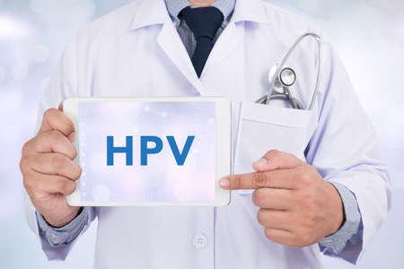 HPV CONCEPT Doctor holding  digital tablet