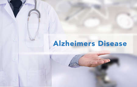 senility: Alzheimers Disease concept Medicine doctor hand working Stock Photo