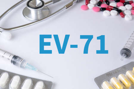 enteric: EV-71 Text, On Background of Medicaments Composition, Stethoscope, mix therapy drugs doctor flu antibiotic pharmacy medicine medical