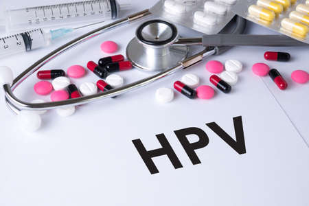 HPV CONCEPT Background of Medicaments Composition, Stethoscope, mix therapy drugs doctor flu antibiotic pharmacy medicine medical Stock fotó