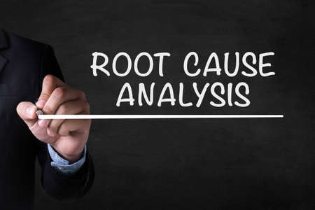 rca: ROOT CAUSE ANALYSIS and Businessman drawing on blackboard