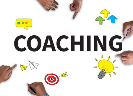 tutor: COACHING (Guide Instructor Leader Manager Tutor ) on white background.