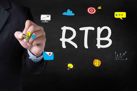 stock ticker board: RTB  Businessman drawing Landing Page on blurred abstract background