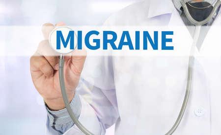 drowsiness: MIGRAINE Medicine doctor hand working on virtual screen