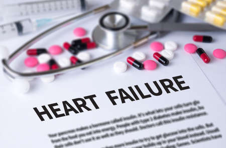 heart failure: HEART FAILURE and Background of Medicaments Composition, Stethoscope, mix therapy drugs doctor and selectfocus