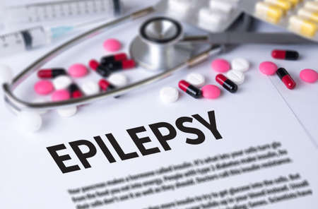 encephalopathy: EPILEPSY and Background of Medicaments Composition, Stethoscope, mix therapy drugs doctor and selectfocus