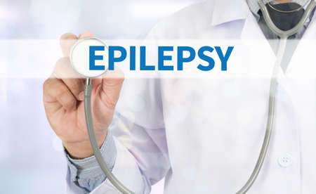 muscle spasm: EPILEPSY Medicine doctor hand working on virtual screen