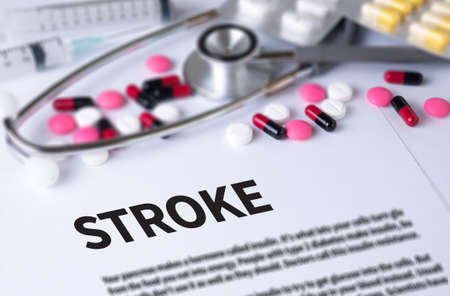 sudden death: STROKE and Background of Medicaments Composition, Stethoscope, mix therapy drugs doctor and selectfocus