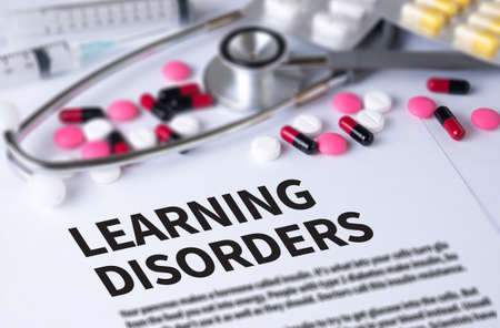 distraction: LEARNING DISORDERS and Background of Medicaments Composition, Stethoscope, mix therapy drugs doctor and selectfocus