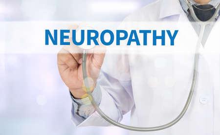 NEUROPATHY Medicine doctor hand working on virtual screen Stock Photo